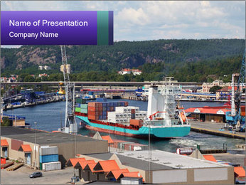 Containers on ships PowerPoint Template - Slide 1