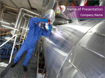 Technician in mask PowerPoint Template - Slide 1