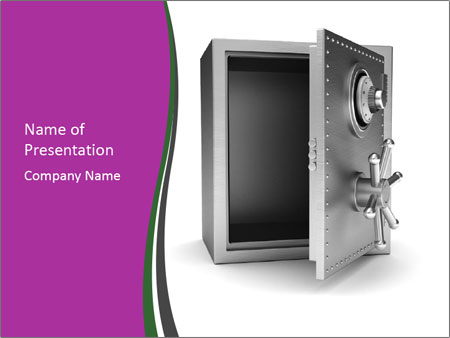 Security metal safe PowerPoint Template