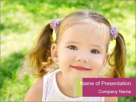 Cute little girl PowerPoint Template