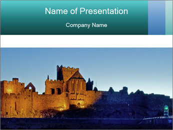 Peel Castle floodlit PowerPoint Template - Slide 1