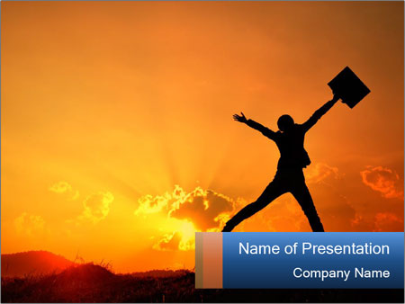 Business woman jumping PowerPoint Template