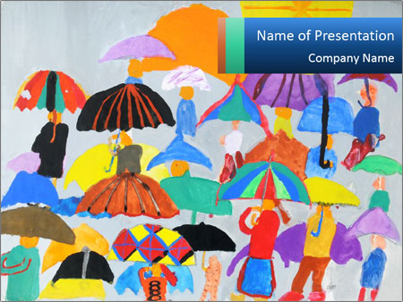 People in a multi-colored PowerPoint Template