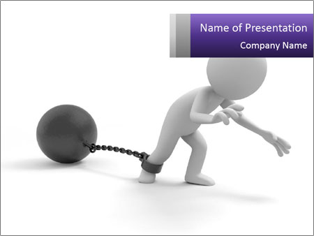Dragging a heavy metal ball PowerPoint Templates