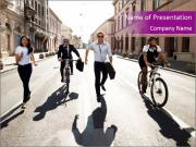 Businesspeople running in city PowerPoint Template