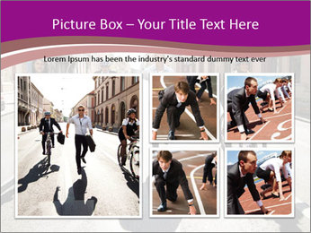 Businesspeople running in city PowerPoint Template - Slide 19