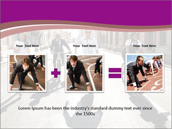 Businesspeople running in city PowerPoint Template - Slide 22