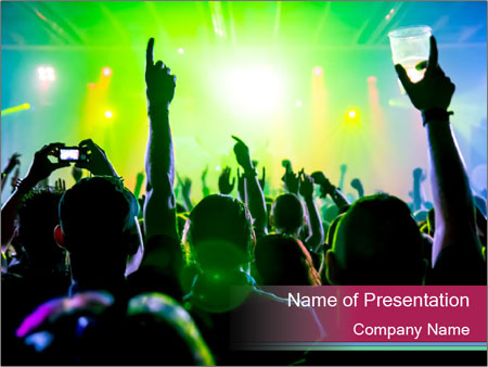 Cheering crowd PowerPoint Template
