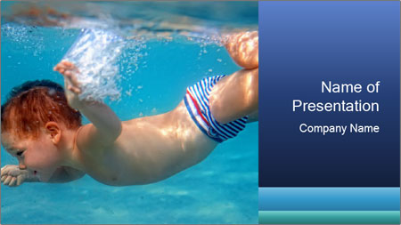 Baby boy dives underwater PowerPoint Template