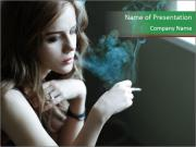 Girl smokes PowerPoint Templates