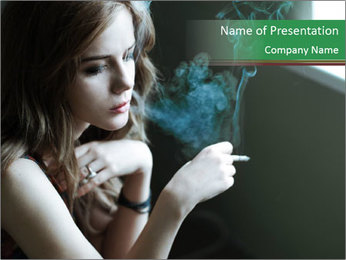 Girl smokes PowerPoint Template