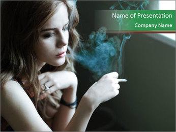 Girl smokes PowerPoint Template - Slide 1