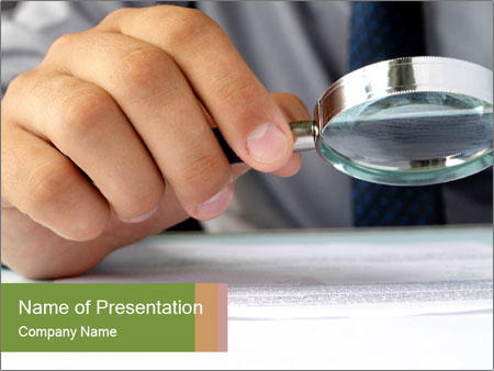 Businessman looking documents PowerPoint Templates
