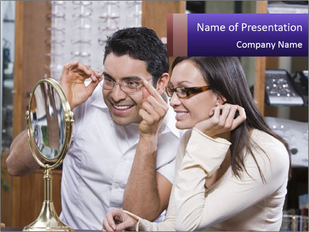 Couple trying on glasses in the shop PowerPoint Template
