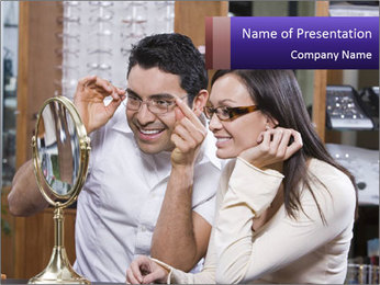Couple trying on glasses in the shop PowerPoint Template - Slide 1