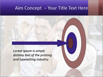 Couple trying on glasses in the shop PowerPoint Template - Slide 83