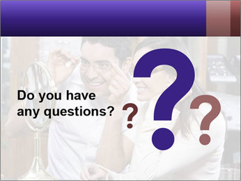 Couple trying on glasses in the shop PowerPoint Template - Slide 96