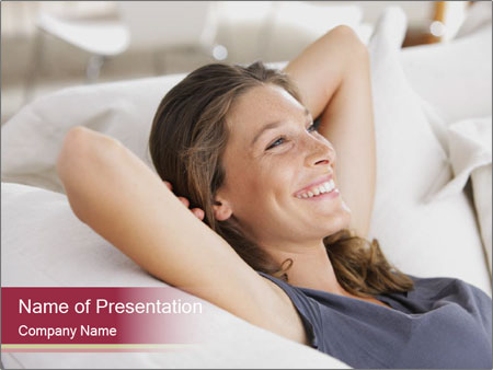 Woman lying on couch PowerPoint Template