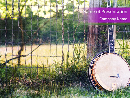 Banjo in a field PowerPoint Template