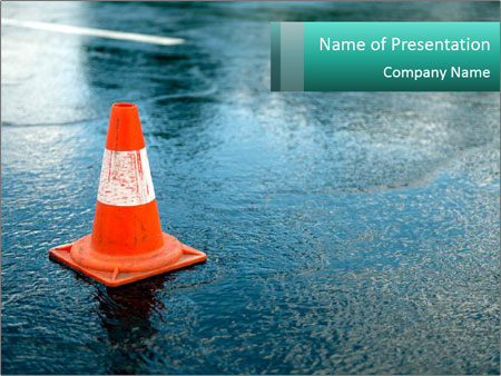 Traffic cone in the road PowerPoint Template