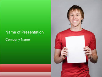 Man in a red shirt PowerPoint Template - Slide 1