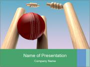A red leather cricket ball PowerPoint Templates