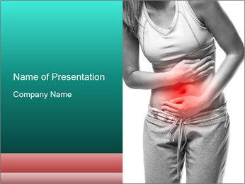 Woman with pain PowerPoint Template - Slide 1