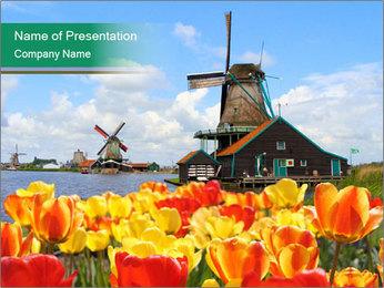 Traditional Dutch windmills PowerPoint Template