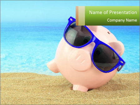 Summer piggy bank PowerPoint Template