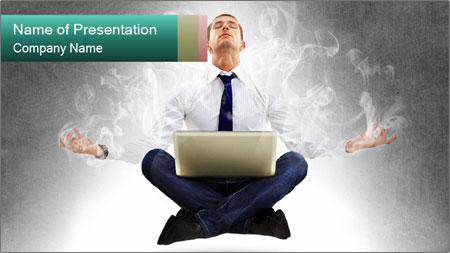 Yoga businessman PowerPoint Template