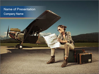 Young woman sitting on a suitcase PowerPoint Template - Slide 1