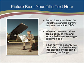 Young woman sitting on a suitcase PowerPoint Template - Slide 13