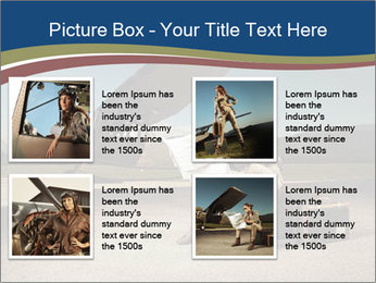 Young woman sitting on a suitcase PowerPoint Template - Slide 14