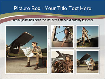 Young woman sitting on a suitcase PowerPoint Template - Slide 19