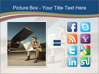 Young woman sitting on a suitcase PowerPoint Template - Slide 21