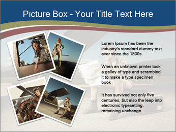 Young woman sitting on a suitcase PowerPoint Template - Slide 23