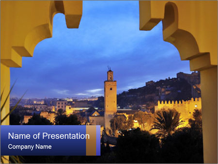 Morocco at night PowerPoint Template