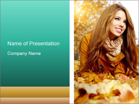 Woman on leafs PowerPoint Template