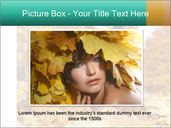 Woman on leafs PowerPoint Templates - Slide 15