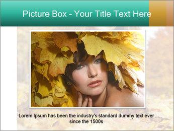 Woman on leafs PowerPoint Template - Slide 15
