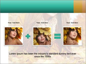 Woman on leafs PowerPoint Template - Slide 22