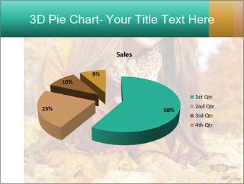 Woman on leafs PowerPoint Template - Slide 35