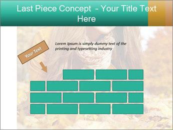 Woman on leafs PowerPoint Template - Slide 46