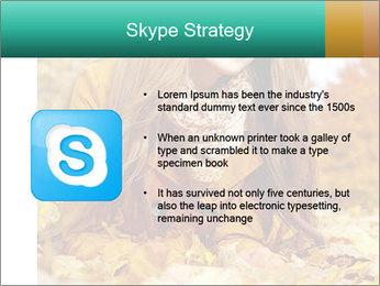 Woman on leafs PowerPoint Template - Slide 8