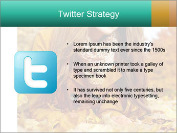 Woman on leafs PowerPoint Templates - Slide 9