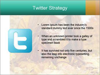 Woman on leafs PowerPoint Template - Slide 9