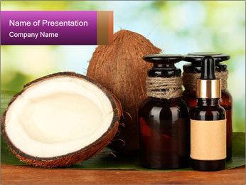 Coconut oil in bottles PowerPoint Template - Slide 1