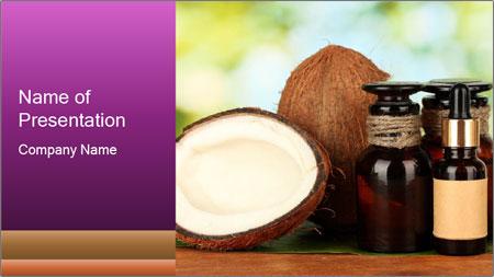 Coconut oil in bottles PowerPoint Template
