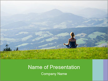 Woman meditating PowerPoint Template - Slide 1