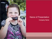 Girl chewing on a BBQ PowerPoint Templates
